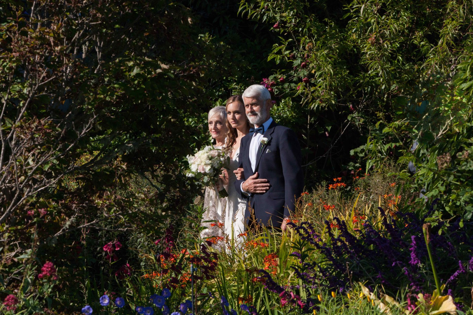 Wedding ceremony in the MacCallum House Inn's gardens.